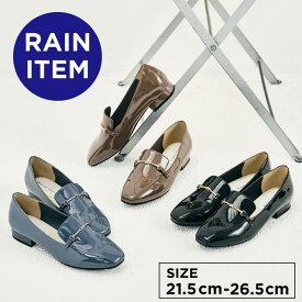 【24H限定10%OFFクーポン有】【SALE】【晴雨兼用】スクエアトゥレインローファー 《ORientalTRaffic》 オリエンタルトラフィック 雨の日 レインパンプス 撥水 防水 エナメル 歩きやすい 梅雨 通勤 通学 おしゃれ 雨靴