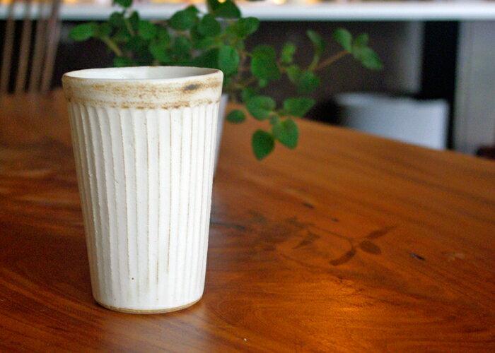 【名入れ】益子焼 アンティークスリムラインアイスコーヒーカップ 送料無料 フリーカップ マルチカップ ゴブレット 焼酎カップ ビアカップ ビアマグ 和風 北欧 おしゃれ シャビー かわいい 名入れ ギフト(ss)