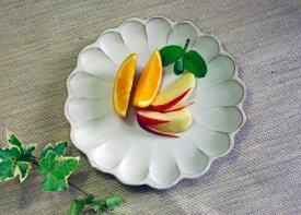 益子焼 kinariリンカプレート(M) リンカ プレート 皿 中皿 パン皿 デザート皿 リム皿 かわいい おしゃれ 和食器 北欧風 洋風 カフェ風 シンプル おしゃれ 花形 白 お花の形 名入れお家カフェ