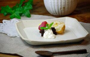益子焼kinari角皿(正方形) デザートプレート盛り付け皿 角皿 正方形皿 シャープ おしゃれ かっこいシンプル ナチュラル 白 モダン 洋風 和食器 北欧風 名入れ ギフト 結婚祝い 内祝い 誕生日プ