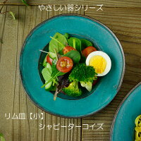 やさしい器リム皿(小)シャビーターコイズ