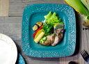 益子焼 ガーデン スクエアプレート ターコイズ 花柄 かわいい おしゃれ 青緑 トルコブルー セルリアンブルー 陶器 和食器 お皿 (食洗機対応 電子レンジ使用可) ギフト対応 名入れ(別料金)