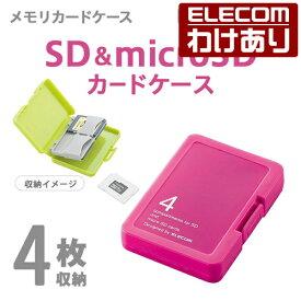 メモリカードケース SD/microSD対応 4枚収納 ピンク:CMC-SDCPPPN【税込3300円以上で送料無料】[訳あり][ELECOM:エレコムわけありショップ][直営]