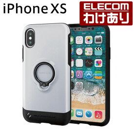 iPhone XS ケース 耐衝撃 TOUGH SLIM フィンガーリング付き ホワイト スマホケース iphoneケース:PM-A18BTSRWH【税込3300円以上で送料無料】[訳あり][ELECOM:エレコムわけありショップ][直営]