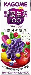 [送料無料][48本]カゴメ 野菜生活100ベリーサラダ 200ml 賞味期限2020.08.09以降