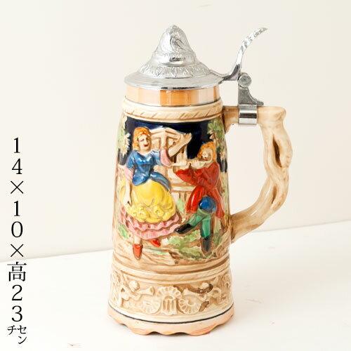 蓋付き陶器ビアマグ 踊り子と笛吹き オルゴール付き ドイツ製 Beer mug made of Germany