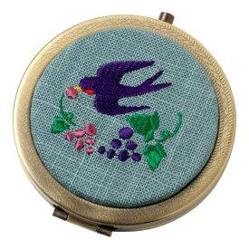 動物刺繍コンパクトミラー ツバメ スーベニール Animal pattern embroidered compact mirror