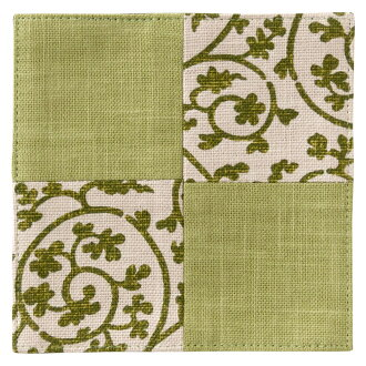 百道発信祝唐草軌道猾車綠(IKI-1372)可逆福岡縣的布產品Fabric coaster