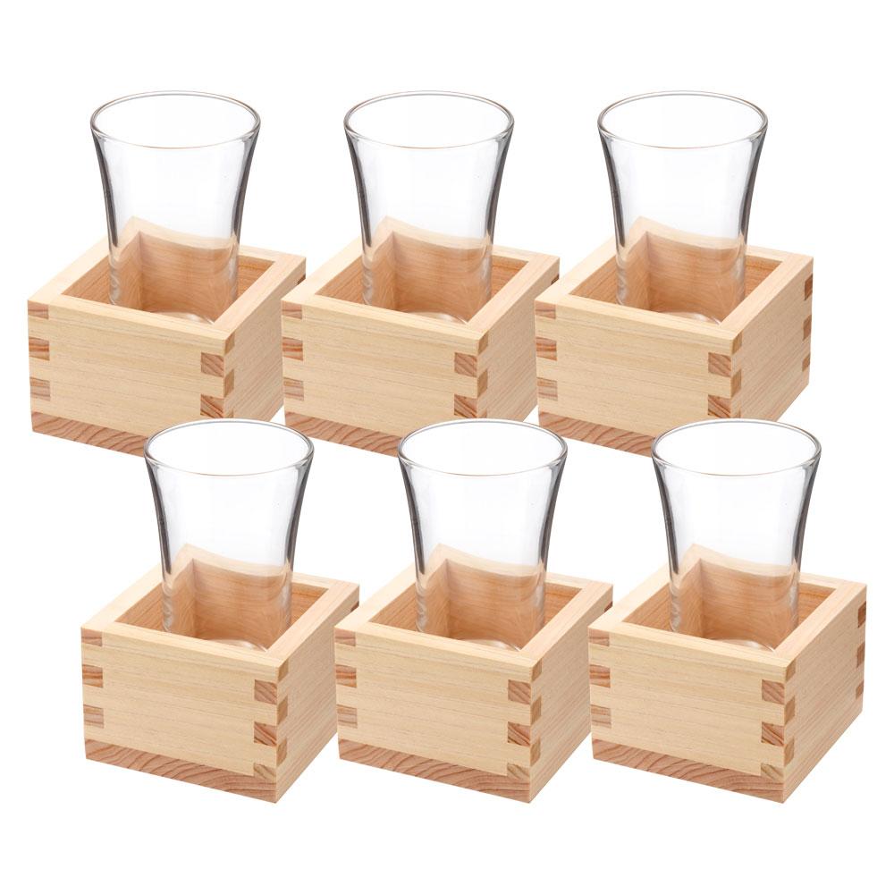 店舗様向け 日本酒『枡酒』140ml 6組セット 冷酒グラス90ml+五勺枡 Masu and Glass Sake set