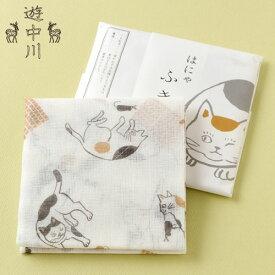 はにゃふきん ミケ 遊 中川 綿100%蚊帳生地の猫柄布巾 Cat pattern cotton table cloth