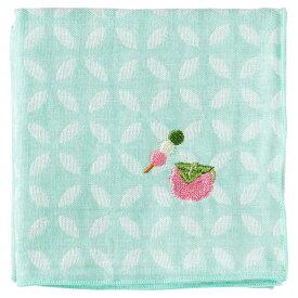 甘味ハンカチ 桜餅 七宝柄 刺繍入りガーゼハンカチ スーベニール Japanese pattern embroidered gauze handkerchief