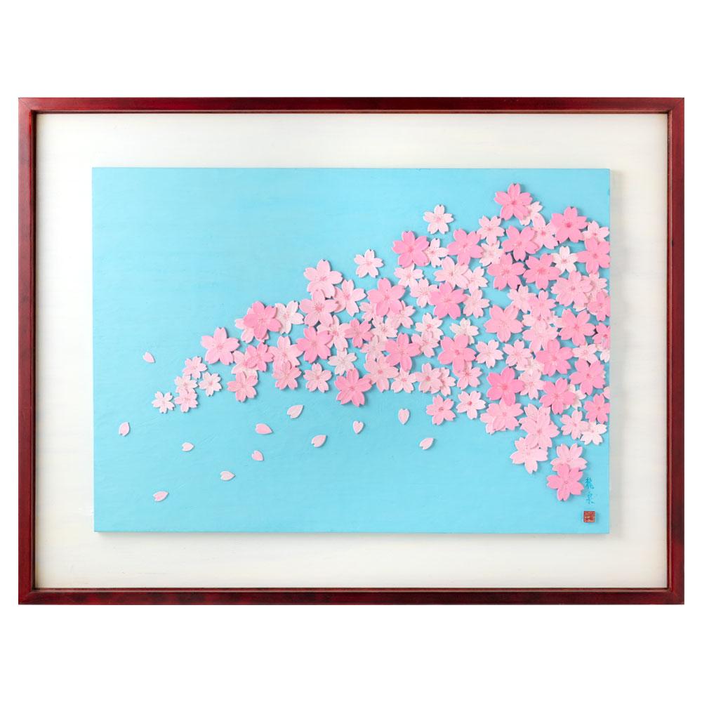 木彫りアート・レリーフ シリーズ「春」さくら 彫刻 壁掛け 作者:鈴木龍泉 埼玉県の木工作品 Wooden relief, Cherry Blossom, Ryusen Suzuki