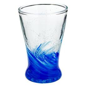 琉球ガラス 海蛍アイスグラス 青 (748-0015) 神秘的に光るグラス 作者:泉川寛勇 沖縄県の工芸品 Ryukyu glass Umihotaru Ice glass, Izumikawa Hiroisa, Okinawa craft