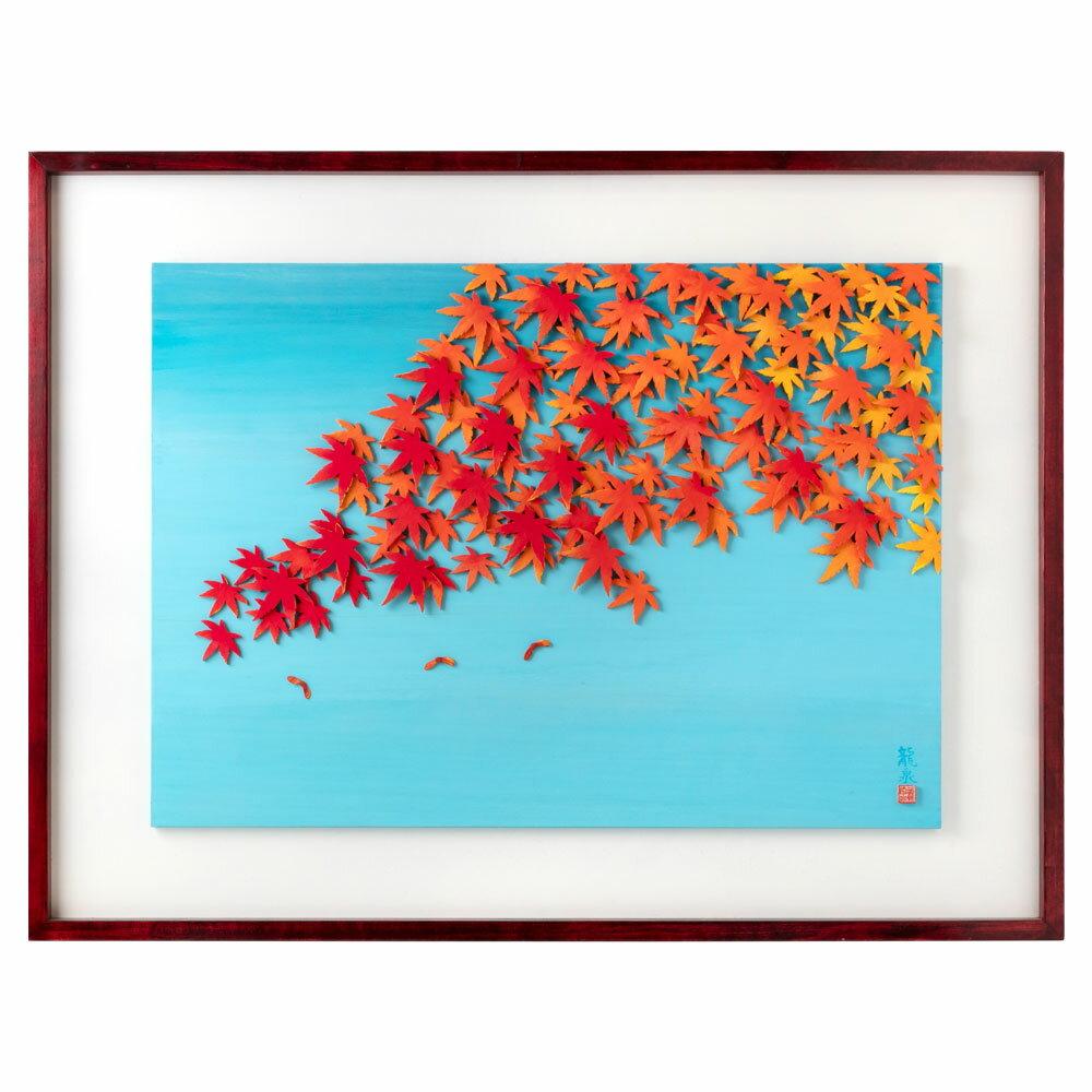 木工アート シリーズ「秋」もみじ 彫刻 壁掛け 作者:鈴木龍泉 埼玉県の木工作品 Wooden art work, Maple leaves, Ryusen Suzuki