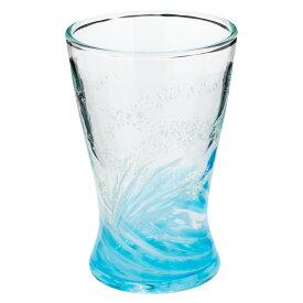 琉球ガラス 海蛍アイスグラス 水 (748-0014) 神秘的に光るグラス 作者:泉川寛勇 沖縄県の工芸品 Ryukyu glass Umihotaru Ice glass, Izumikawa Hiroisa, Okinawa craft