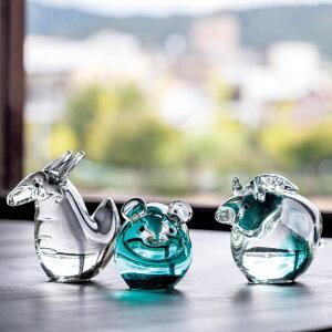 正月飾りガラス干支置物子・透明金屏風+飾り台セットハンドメイド硝子飾りJapanesezodiacfigurinemadeofglass