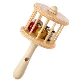 笛付ガラガラ 木製楽器玩具 木地玩具