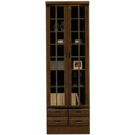 本棚 書棚 フリーボード 飾り棚 リビング収納 木製 幅60cm 扉付き 和風モダン ハイタイプ [ ブラウン ] 【 完成品 国産 】