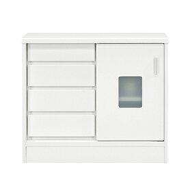 キャビネット サイドボード 幅80cm 白 リビングボード 完成品 収納家具 ホワイト リビング収納 おしゃれ 収納棚 背面化粧仕上げ 送料無料