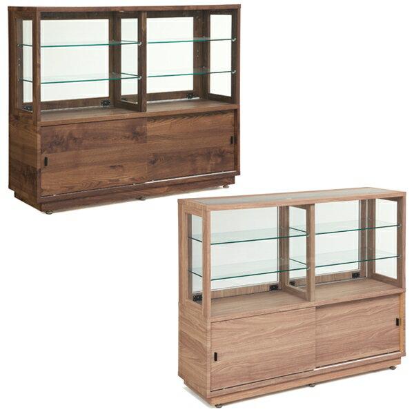 飾り棚 キャビネット 幅130cm 木製 アジャスター キャスター付き ガラス 可動棚 引き戸【開梱設置】完成品 送料無料