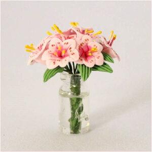 ドールハウス小物 ピンクのユリ フラワーアレンジのミニチュア模型 1/12フィギュア小物【ドールハウス】【シルバニア改造】【ミニチュア】【母の日】