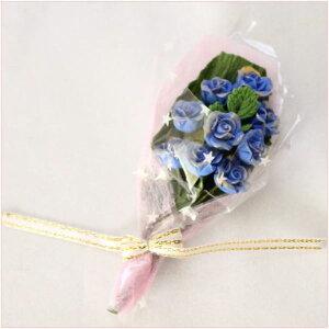 ドールハウス小物 青のバラの花束 フラワーアレンジのミニチュア模型 1/12フィギュア小物【ドールハウス】【シルバニア改造】【ミニチュア】【母の日】