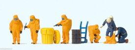 Preiserプライザー10732 防護服、防塵服、放射能服を着ている人たち オレンジ色の服【HO人形】【塗装済み】【ジオラマ小物】