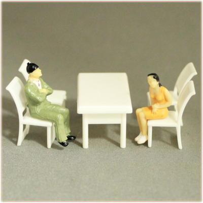 1/50ダイニングセット テーブル椅子模型セット 白模型や建築模型,家具模型【メール便可】