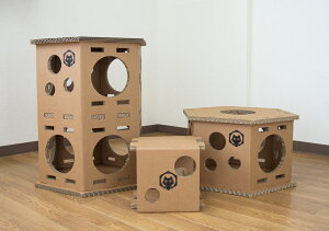 ネコベース NEKO BASE NEKOBASE強化段ボールで出来た猫の遊び場 キャットハウス キャットタワー キャットトンネルネコベース1段+2段×各1台セット