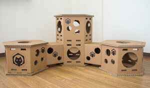ネコベース NEKO BASE NEKOBASE強化段ボールで出来た猫の遊び場 キャットハウス キャットタワーネコベースフルセット(2段×1台/1段×2台)