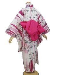 【撫松庵ジュニア】浴衣「花丸縦絣(ピンク)」【7〜8歳・120cm】【10P06Aug16】