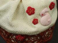 【七五三】子供かご付き巾着「うさぎと梅(白)」【10P05Nov16】