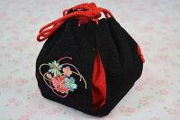 【七五三】バッグ「桜の刺繍のちりめん巾着(黒)【クロネコDM便での発送はできません】【10P03Sep16】
