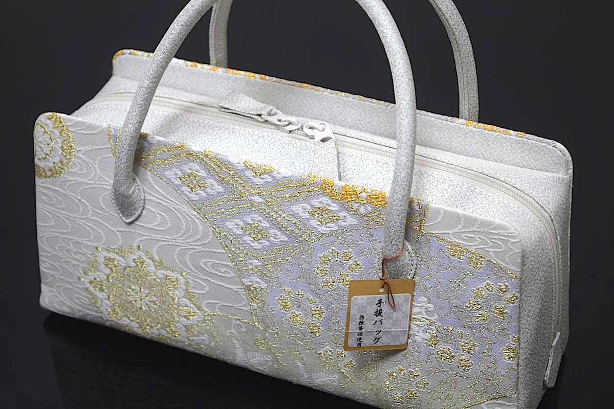 【日本製】【西陣織帯地使用】【正絹】「高級利休バッグ(七宝流水亀甲華紋 2)」