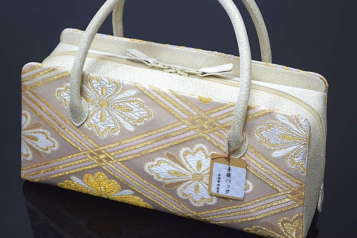 【日本製】【西陣織帯地使用】【正絹】「高級利休バッグ(華菱)」