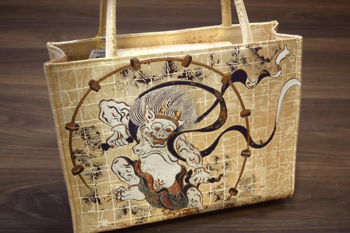 【日本製】和柄・金襴和装バッグ・トートバッグ「風神雷神」
