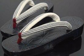 【鎌倉彫最高級桐下駄】【大人の下駄】【日本製】【夢衣】「鎌倉彫・右近・麻の葉」(縦縞)(Fサイズ)