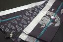 【撫松庵】正絹半幅帯(細帯)半巾帯「宝珠と龍(濃いムラサキ)」