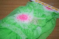 【正絹】子供兵児帯(3m)「グリーン地にピンクの絞り」