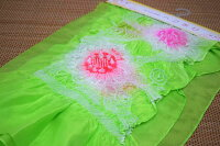 【正絹】子供兵児帯(3m)「黄緑地にピンクの絞り」