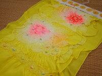 【正絹】高級子供兵児帯(3m25cm)女の子「黄色にピンクと赤の絞り」【P25Jun15】