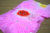 【上質正絹生地使用】特選子供兵児帯(3m10cm)女の子「ピンク地に赤と黄色の絞り」
