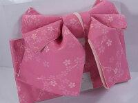 【数量限定】作り帯(結び帯・付け帯)「リボン結び・ピンク地に小桜」