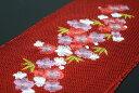【振袖用帯揚げ】刺繍入り・正絹総絞り帯揚げ「桜と梅(赤)」
