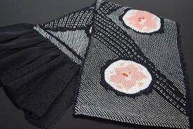 【振袖用】正絹総絞り帯揚げ「丸に紅葉(黒)」