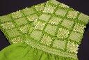 【振袖用帯揚げ】高級正絹総絞り帯揚げ「市松(抹茶)」