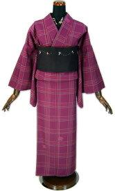 【NICOLE・ニコル】洗える着物・小紋「赤紫地に格子」