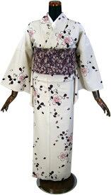 【NICOLE・ニコル】仕立て上がり洗える着物・小紋「オフホワイト地に桜」