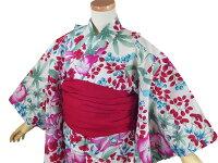 【撫松庵ジュニア】浴衣「夏草(オフシロ)」【7〜8歳・120cm】【10P06Aug16】