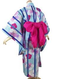 【撫松庵ジュニア】浴衣「縞撫子(ミズイロ)」【7〜8歳・120cm】【10P06Aug16】